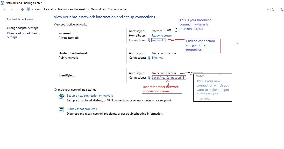 network Sharing center Wi-Fi hotspot on windows 10